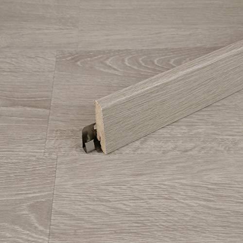 Sockelleiste für TRECOR® Klick Vinylboden - Länge: 240 cm - Höhe: 60 mm - Tiefe: 18 mm - WASSERFEST - (Sockelleiste Dekorgleich | 1 Stück (240 cm), Eiche Grau Landhausdiele)