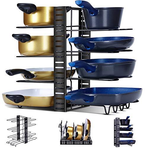Ryosee Multifunción, soporte para sartenes, 3 métodos de bricolaje, organizador de sartenes con 8 compartimentos ajustables para armario de cocina, sartenes, ollas, tapa y juego de vajilla
