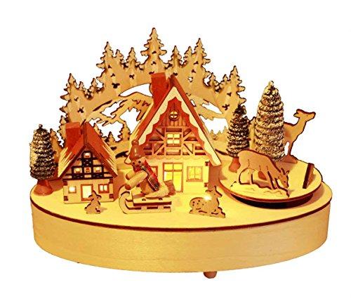 HAAC LED beleuchtete Weihnachtsstadt aus Holz mit Musik Häusern Weihnachtsbaum Schneemann und drehenden Weihnachtsfiguren