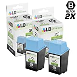 LD Remanufactured Ink Cartridge Replacements for HP 20 C6614DN (Black, 2-Pack)