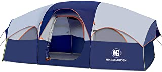 HIKERGARDEN Tent 8 Person Camping Tents, Waterproof Windproof Family Tent, 5 Large Mesh Windows, Double Layer, Divided Cur...