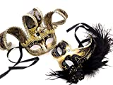 MasqStudio Couples Masquerade Jolly Jester Mask Cosplay Mardi Gras Prom Dance Birthday Party Wear or Deco (Black Gold)