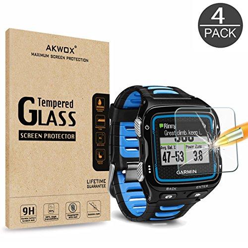 AKWOX (Pack of 4) Tempered Glass Screen Protector for Garmin Forerunner 920XT, [0.3mm 2.5D High Definition 9H] Premium Clear Screen Protector for Garmin Forerunner 920XT