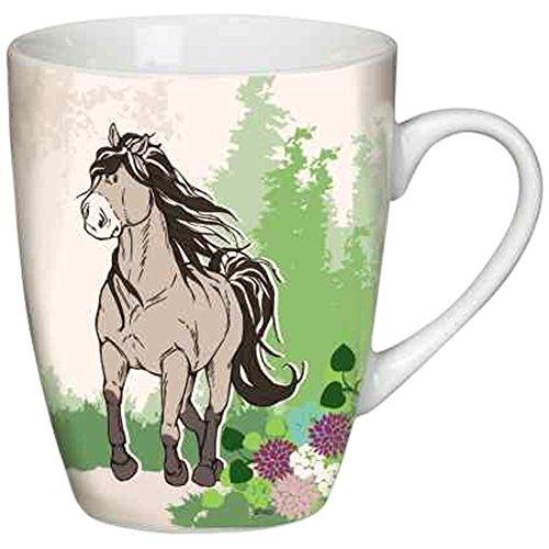 Nici 36916 - Tasse Pferd aus Porzellan, Durchmesser 9.5 x 10 cm, graubeige
