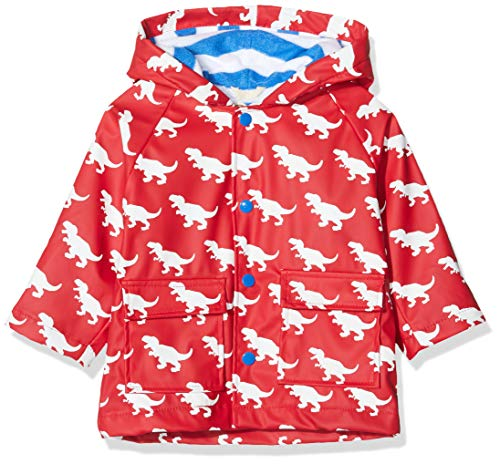 Hatley Baby-Jungen Printed Raincoats Regenmantel, Rot (Color Changing Trex 600), 80