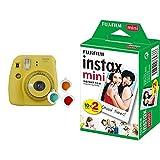 Fujifilm Instax Mini 9 Yellow Fotocamera per Stampe, Formato 62 x 46 mm, Giallo & Instax Mini Film, Pellicola istantanea per fotocamere Instax Mini, Confezione da 20 foto, Formato foto 46 x 62 mm