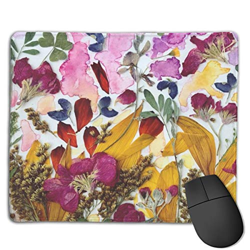 Judascepeda Rectangle Non-Slip Work and Home Small Mousepad Pressed Flower Art Design Gaming Mouse Pad 18x22cm