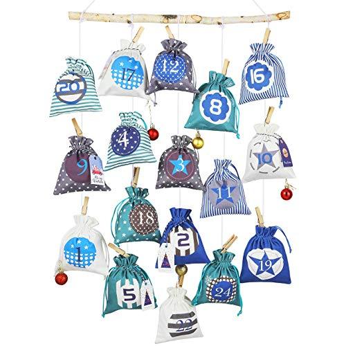 ANYUNKEY 2020 Adventskalender zum Befüllen Stoffbeutel, 24 groß Adventskalendertüten zum selbst basteln für Kinder Mädchen Jungen,XXL Weihnachten Geschenksäckchen DIY
