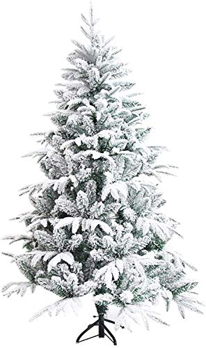 YUXO Christmas Trees Artificial Snow Flocked PVC Christbaum with Metal Stand, Indoor Outdoor Artificial Christmas Pine Tree (Size : 210cm/7ft)