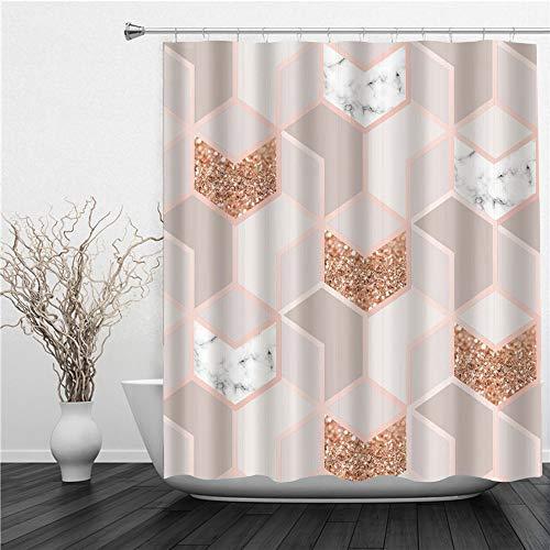 AIMILUX Duschvorhang 180x180cm,Abstraktes geometrisches Marmor Ombre Würfelmädchen modernes Quadrat,Duschvorhang Wasserabweisend-Duschvorhangringen 12 Shower Curtain mit
