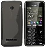 mumbi S-TPU Funda Compatible con Nokia ASHA 206/206 Dual SIM, Negro Claro