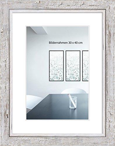 WANDStyle Bilderrahmen Schwemmholz-Optik 30x42cm DIN A3 Farbe: Weiß I Holzbilderrahmen I Fotorahmen I Bilderrahmen Weiß I Made in Germany I H660