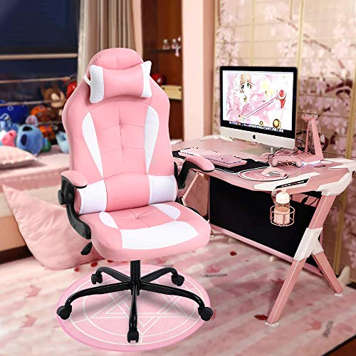 Gaming Chair Pink Meet Perfect Ergonomic Office Chair Desk Chair Leather Computer Chair Lumbar Support and Head Pillow Modern Executive Chair Adjustable Rolling Swivel Task Chair for Girls Women Teens