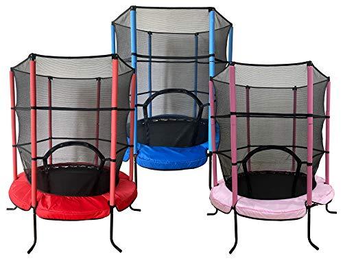 Joka 17861 Kinder Trampolin 140 cm mit Netz blau, rosa oder rot (pink)