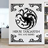 JXFM 102x129cm DIY tamaño y Color Personalizados casa Juego tágaro Trono Etiqueta de la Pared Fuego y Sangre Cartel decoración del hogar Sala de Estar Arte Animal dragón símbolo