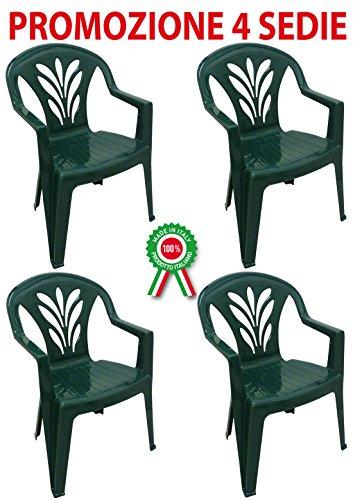 4 pièces Taormina Fauteuil Chaise empilable avec accoudoirs en résine dure de plastique vert pour bar Camping Sagra Restaurant