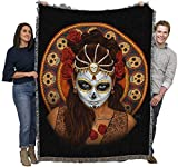 Fantasy Day of The Dead Sugar Skull - Mitch Foust - Cotton Woven Blanket Throw - Made in The USA (72x54)
