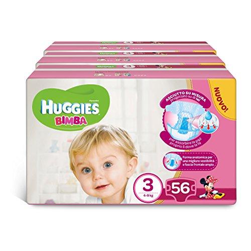 Huggies Windeln, Größe 3 (4-9 kg), 4 Packungen à 20 [80 Windeln] 3 Pakete 168 - Amazon Famiglia