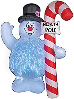 Christmas Inflatable 5' Projection Frosty The Snowman Holding North Pole Candy Cane