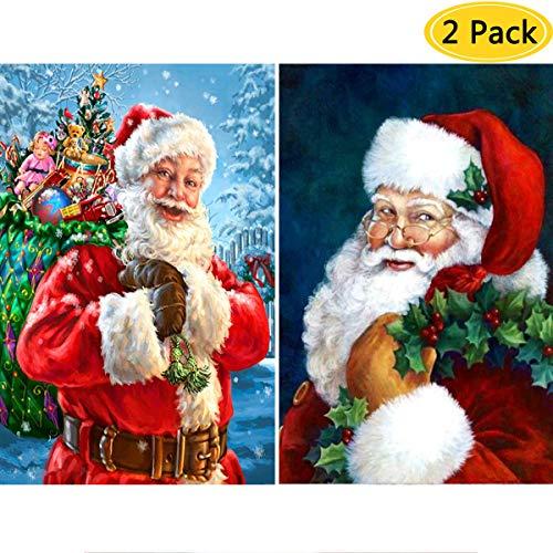 2 Pack DIY 5D Diamond Painting Kits,Simliber Full Drill Christmas Santa Claus Rhinestone Diamond Painting for Beginner Adults Diamond Arts Home Wall Decor, 11.8 X 15.8inch(Santa Claus)