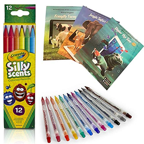 Coloring Books For Kids Ages 4-8 -Animal Farm with 3D Augmented Reality (Free iOS/Android Apps) and Crayola Scented Pencils - Twistable Colored Penciles - 12 Non-Toxic, Scented, Twist-Up Pencils