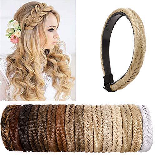 SEGO Extensiones de Cabello Diademas Trenzadas Elásticas Mujer Pelo Sintético Se Ve Natural Accesorios Fishtail Braided Hair Headband Head Hoop [Rubio Ceniza]