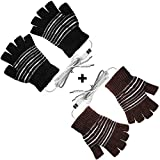 [2 Pack] USB Heated Gloves for Men and Women Mitten, USB 2.0 Powered Stripes Heating Pattern Knitting Wool Heated Gloves Hands Warmer Laptop Gloves Fingerless Washable Design Gift (Brown + Black)