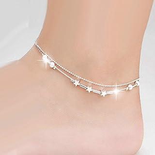 Simsly Beach - Cavigliera in argento a forma di stella, doppia caviglia, con perline, semplice piede, regolabile, per donn...