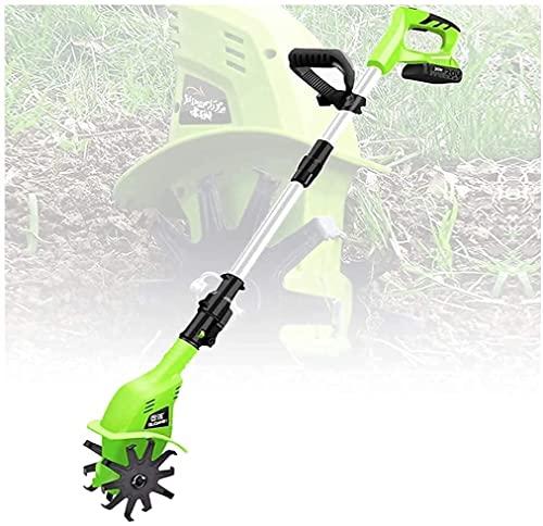 Wszybay Brochet électrique portable à rotation sans fil de la motocratune avec batterie rechargeable et chariot porté à la main des cultivateurs de sol for les jardins Tields en vœge 97-127cm Poigné