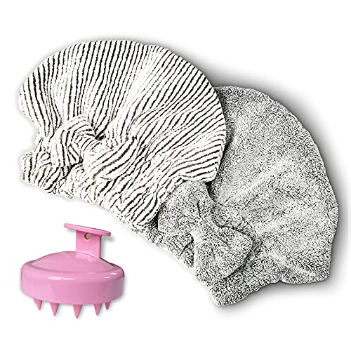 Microfiber Hair Towel Cap,Soft Absorbent Quick Drying Cap for Curly Thick Hair , with Hair Shampoo...