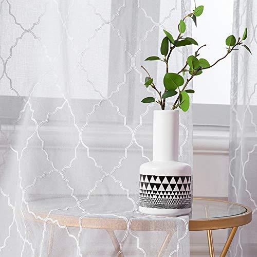 MIULEE 2er Set Voile Marokko Vorhang Sheer mit Ösen Transparente Optik Gardine Ösenschal Wohnzimmer Fensterschal Luftig Lichtdurchlässig Dekoschal für Schlafzimmer 245 x 140cm (H x B)