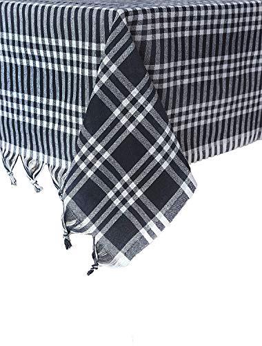 Destalya Mantel de picnic de algodón, a cuadros, 160 x 160 cm, color negro y blanco
