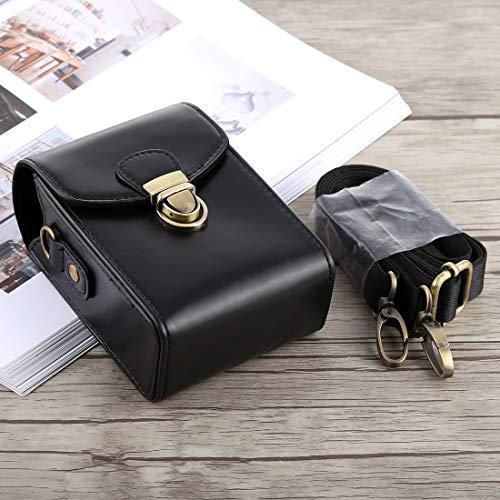 Chejhua Sony RX100 / M2 (Negro), la caja de cuerpo de la cámara de bloqueo de la hebilla de la PU Bolsa de cuero con correa de mano y correa for el cuello for Canon G7X II / G9X Mark II Estuche para l