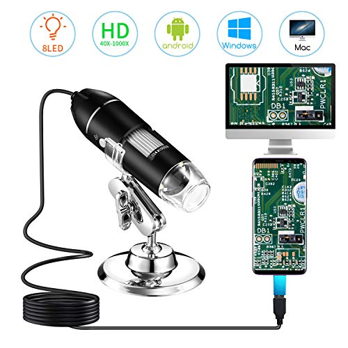 STPCTOU-Digital-Microscope USB-Handheld-Magnification 8 LED Mini Camera and Metal Stand Compatible with Mac-Window 7 8 10 Android Linux, Doesn't Work with iPhone/iPad