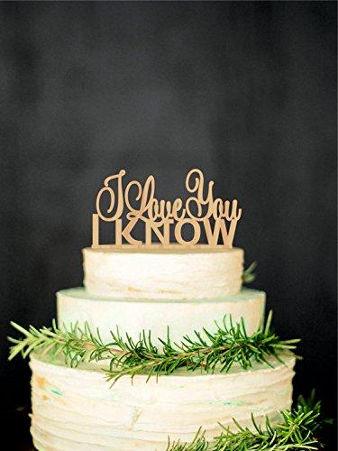 Frog Studio Home WTA1018 WTA - I Love You I Know Wedding Cake Topper Star Wars Inspired Wood Cake Topper