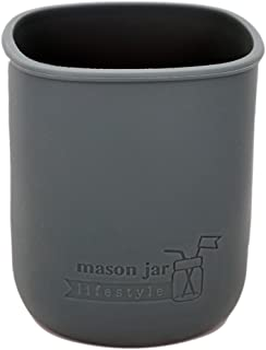 MJL Quart Silicone Sleeve for Mason Jars (Charcoal Gray, 2 Pack)