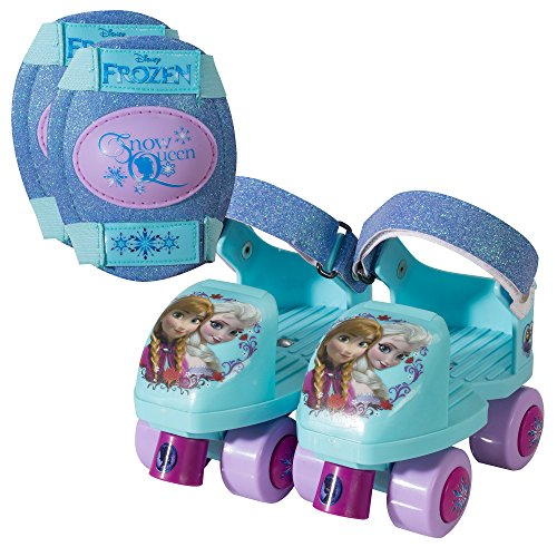 PlayWheels Disney Frozen Glitter Roller Skates with Knee Pads, Junior Size 6-12