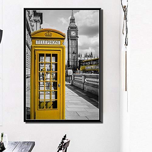 shiyueNB Art Deco Arte Moderno en el Paisaje Urbano de Londres Street View Big Ben Pography Arte de la Pared Pintura en Lienzo Póster 50x70cm noframe