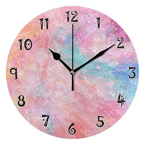 JUMBEAR - Reloj de pared con pulverizador de acuarela silencioso, funciona con pilas, con números arábigos precisos, decoración del hogar para cocina, sala de estar, 25,4 cm