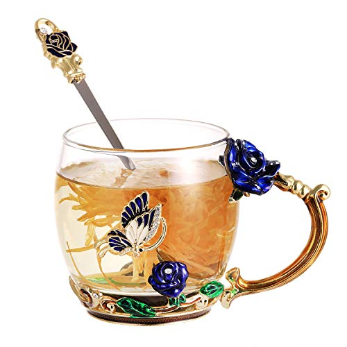 Blue Rose Mugs Handmade Glass Tea Coffee Cup Flower Drinking Cups for Women Graduation Girl Birthday Mother's Day Valentine's Day Souvenir Gifts (Blue Rose, Short)