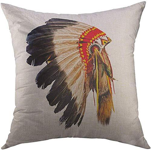 LisaArticles kussensloop, hoofd inheemse Amerikaanse hoofd Mascotte Tribal Feather kostuum zachte comfortabele kussenslopen