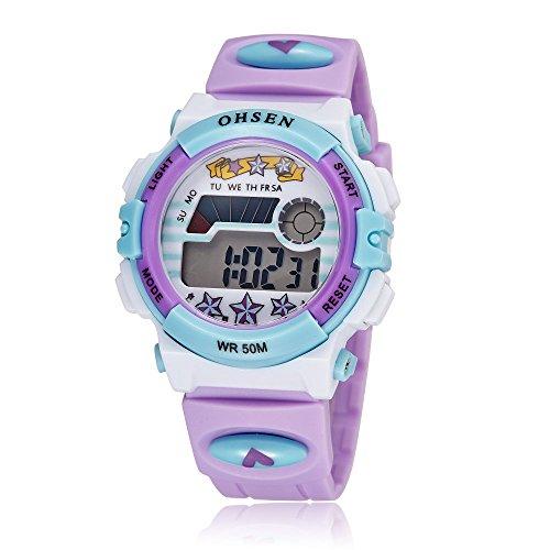 LED Digital Waterproof Watch for Girls Multifunction Outdoor Sport Electronic Wrist Watch Purple