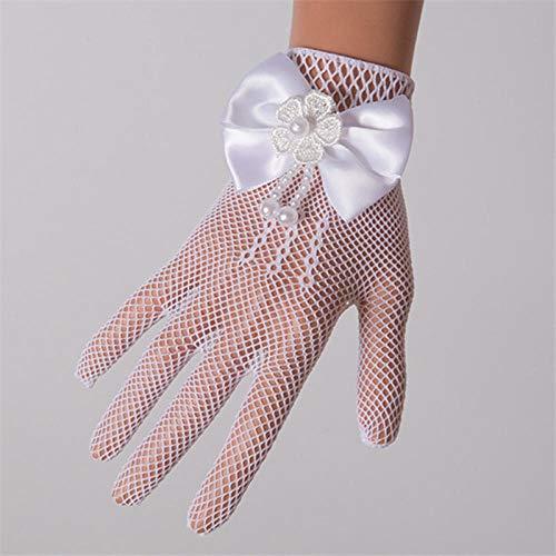 GBSTA Vingerloze Handschoenen Baby Kinderen Meisjes Pageant Dans Prinses Verjaardag Party Kant Handschoenen Wit Gaas Strik Parels Bruiloft Handschoen Kleur: wit