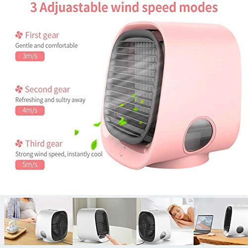 Mini Refrigeratore Portatile per Aria Condizionata e Umidificatore, Piccoli Refrigeratori Evaporativi, 3 Velocità di Ventilazione, Ventola di Raffreddamento per Casa Camera da Letto Ufficio