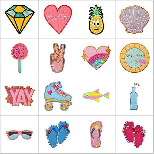 Patch Sticker,Parche termoadhesivo,Aplique de bordado adecuado para sombreros, chaquetas, abrigos, camisetas, zapatillas de concha 22 piezas