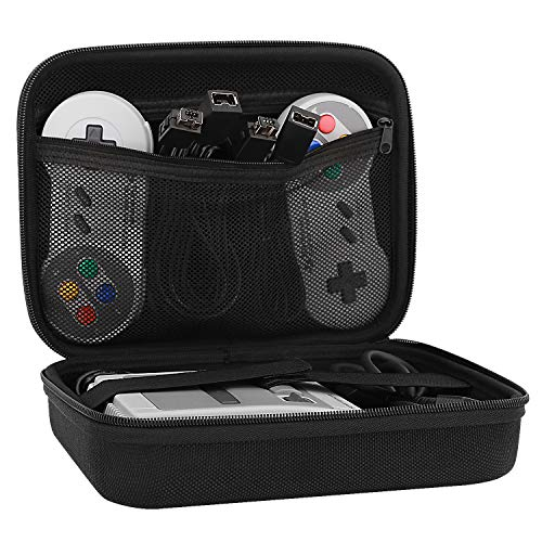 MoKo Carrying Case Fit Nintendo SNES, Travel Hard Carrying Box Holder Protective Storage Bag Fit Nintendo Super NES Classic 2017 Mini Console, NOT Fit NES - Black