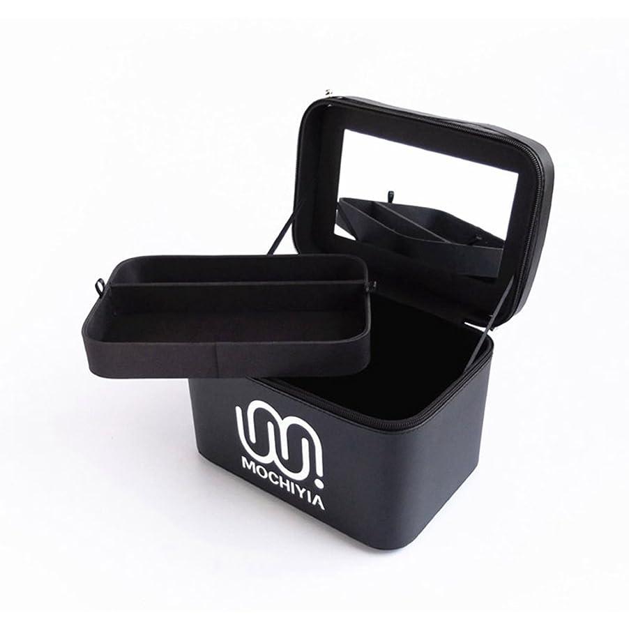 食堂創造部分{ツネユウ}コスメボックス メイクボックス トレンチケース 鏡付き かわいい 収納ケース ビューティー 用品 化粧品入れ ネイル 小物入れ ブラック プロ仕様 ネイル ローズ