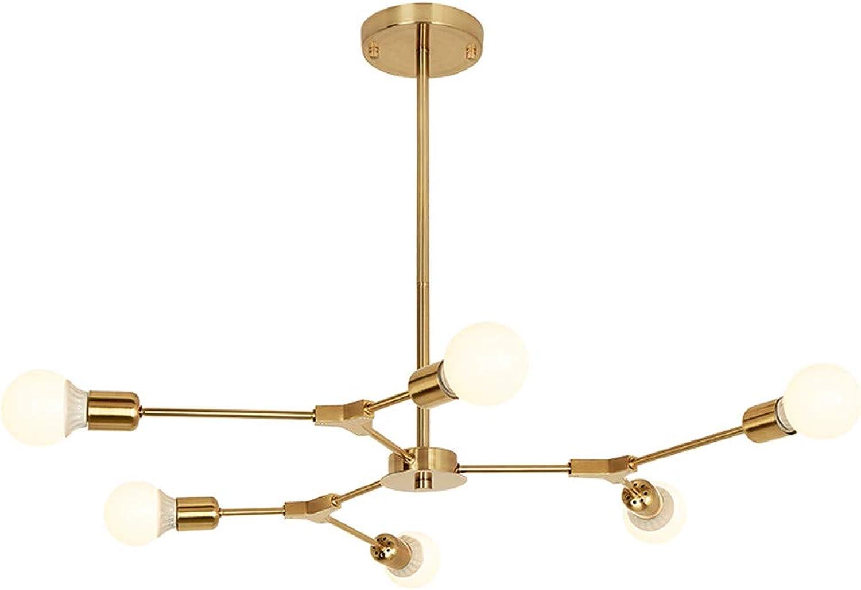 BOKT Mid Century Modern 6-Light Chandeliers Multi-Adjustable Chandelier Lighting golden Sputnik Kitchen Island Lighting Include G80 Led Bulb