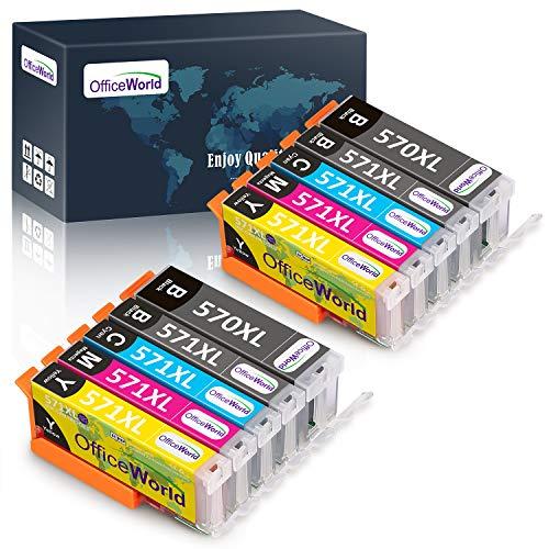 OfficeWorld Ersatz für Canon PGI-570 CLI-571 Druckerpatronen PGI-570XL CLI-571XL (2PGBK, 2BK, 2C, 2M, 2Y) Hohe Kapazität mit Canon PIXMA MG5750 TS5050 MG5751 MG5752 MG5753 MG6850 MG6851 MG6852