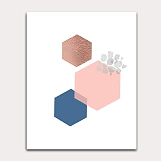 Abstract Hexagon Wall Print in Navy Blue and Pink Unframed
